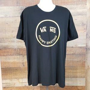 Vans T-Shirt Mens Size XXL Black Smiley Face Happy